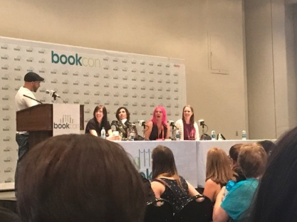 Panel with Maggie Stiefvater, Kami Garcia, Laini Taylor and Marissa Meyer about Magic and World Building. Moderated by Daniel Jose Older